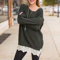 Close To Your Love Sweater, Forest Green