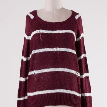 Distressed Cable Knit Sweater