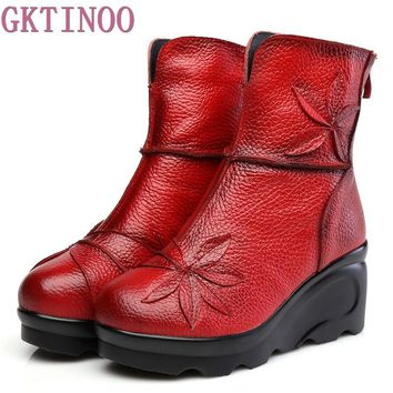 New Fashion Genuine Leather Women's Boots Winter Shoes Casual Women Wedges Shoes Handmade Woman Ankle Boots