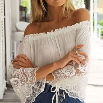 Lace Strappy strapless Chiffon Shirt Top Tee