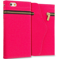 Hot Pink Zipper Wallet Case Cover Pouch With Slots for Apple iPhone 6 6S (4.7)