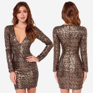 Sexy Deep V-Neck Women's Party Dresses Sequins Back Zipper Long Sleeve Slim Dress For Girl New Fashionable Autumn Winter Dresses