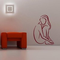 Housewares Wall Vinyl Decal People Nude Woman Sitting Bathroom Beauty Salon Interior Home Art Decor Kids Nursery Removable Stylish Sticker Mural Unique Design for Any Room