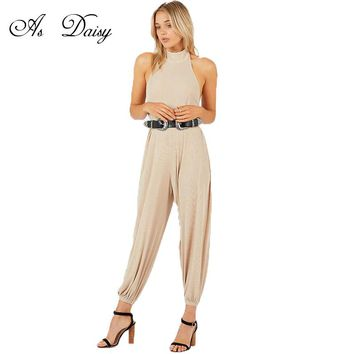 As Daisy Backless Halter Jumpsuit Women Long Rompers Sexy Bodycon Jumpsuits Macacao Feminino Casual Playsuit Long Overall JP1765