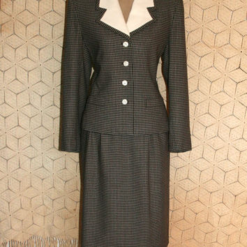 40s Style Skirt Suit Retro 90s Women Suit Winter Suit Brown Check Business Suit Skirt & Jacket Size 8 Size 10 Size Medium Womens Clothing