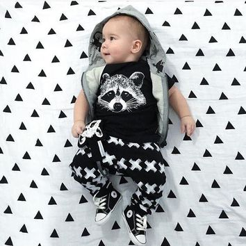 2018 New Summer baby boy clothes short-sleeved fox avatar baby Romper baby girl clothes newborn  clothing set