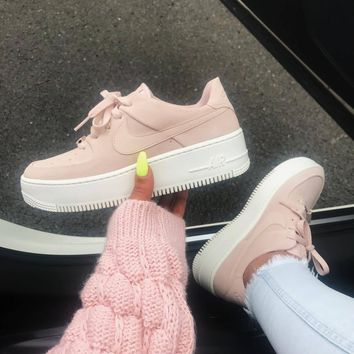 NIKE AIR FORCE 1 LOW AF1 Women s suede thick-soled muffin board 500c516b8a