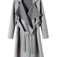 Gray Longline Lapel Knit Trench Coat - Choies.com