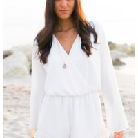 Fisher - White chiffon Playsuit with bell long sleeves and liner.
