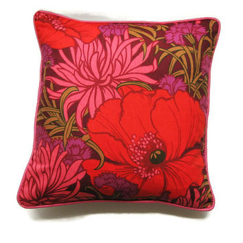 "Heals ""Braganza"",  red, dusky pink, purple and hot pink poppies, vintage mid 60s cotton cushion, throw pillow, homeware decor, 18 X 18 ins."