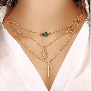Gold Plated Fatima Hand 3 Layer Chain Bar Necklace Beads and Long Strip Pendant Necklaces Jewelry