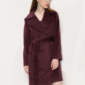 Red Tie-Waist Notched Collar Wool Coat