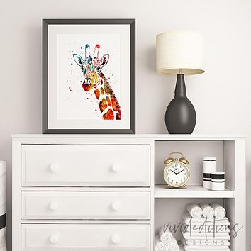 Giraffe Watercolor Art Print