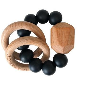 Hayes Silicone+Wood Teether Ring Black by Chewable Charm