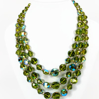 Green Crystal Necklace, Triple Strand, Vintage Necklace, AB Crystals, Estate Jewelry, 1950s Jewelry, Multi Strand, Vintage Jewelry