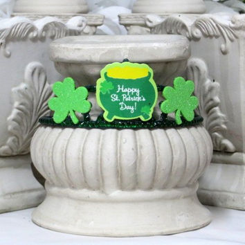 Saint Patricks Day - St Pattys Day - Adult Headband - Green Headband - Pot Of Gold - Irish Holiday - Girls Hair Accessories - Photo Prop