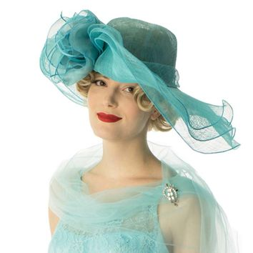 Aqua Sinamay Flower Accent Wide Brimmed Hat
