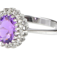 925 Sterling Silver 1ct Amethyst & Diamond Ring