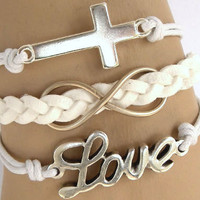 Cross braceletinfinity braceletloveB54 by wishbracelets1969