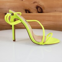 So Me Mora Flirty Open Toe  Asymmetrical Strap - High Heel Shoes Neon Yellow