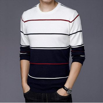 Mens Round Neck Tow Tone Striped Sweater