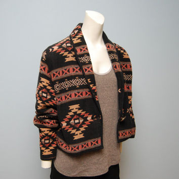 Vintage 1990's Cropped Aztec Patterned Woven Jacket Coat 90's Size Medium Southwestern Bohemian Black Orange and Brown