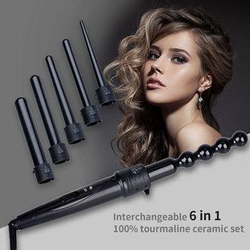 6 in 1 Hair Curler Set Curling Wand Spiral Electric Curling Iron Machine Conical Gourd Shaped Interchangeable Barrel 9MM-32MM P0