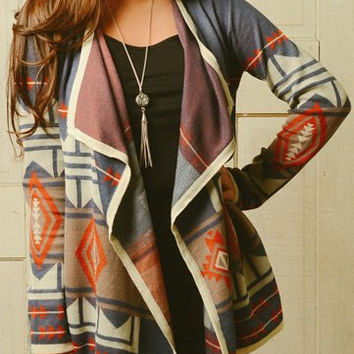 Multi-color Turn-Down Neck Long Sleeve Geometric Pattern Cardigan