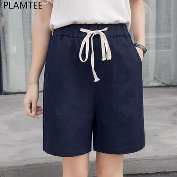 PLAMTEE 4 Colors Women Cotton Shorts Summer Harajuku Style Elastic Waist Shorts Feminino Mid Waist Drawstring Pocket Short Pants