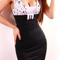 White Rhinestone Embellished Bodycon Dress