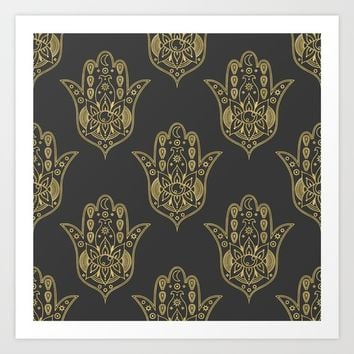 Gold Hamsa Hand Pattern Art Print by Musing Tree Designs