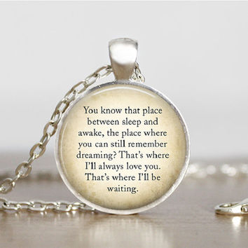 Peter Pan Necklace Quote Peter Pan Jewelry Peter Pan Pendant Charm Book Lover Jewelry Peter Peter Pan Gift Glass Tile Pendant