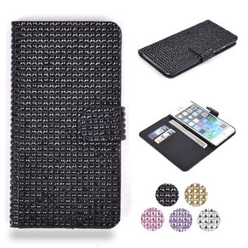 "iPhone 6 Plus Case, HESPLUS Luxury Bling Glitter Rhinestone Folio PU Leather Magnet Flip Wallet Case Cover with Credit Card Slot for iPhone 6 Plus 5.5"" Inch Black"