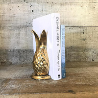 Bookends Brass Pineapple Bookends Brass Bookends Mid Century Brass Pineapple Door Stoppers Mid Century Office Decor Book Lover Gift