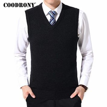COODRONY Sweater Men Clothes 2018 Autumn Winter Warm Cashmere Wool Pull Homme Classic Casual V-Neck Sleeveless Vest Sweaters 126