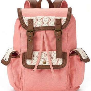 Candie's Anna Crochet Backpack (Coral)