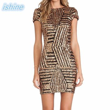 2018 New Sexy V-neck Backless Gold Silver Sequin Short-Sleeve Body-con Pencil Dress Cocktail Party Dress For Lady Girls