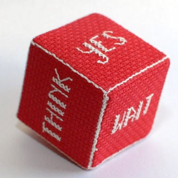 Decision  maker, Cross Stitch red and white decision dice, cube - yes, no maybe, sure, wait, think. handmade gift. Gift idea
