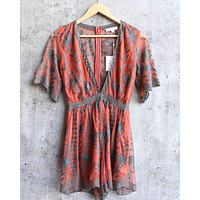 honey punch - as you wish contrasting embroidered lace romper (women) - dusty rust