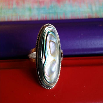 Abalone Shell 925 Sterling Silver Vintage Cocktail Ring  Ladies Women's Size 6 Retro Statement Boho Hippie