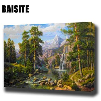BAISITE DIY Framed Oil Painting By Numbers Landscape Pictures Canvas Painting For Living Room Wall Art Home Decor E800