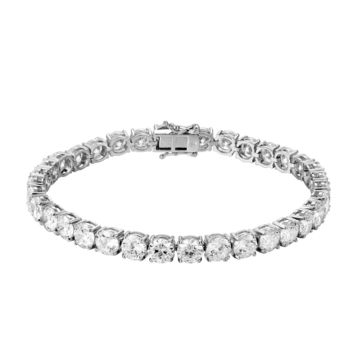 14k White Gold Finish 6MM Solitaire Designer Tennis Bracelet