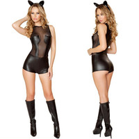 2016 New Sexy Bodysuit Vinyl Latex Catsuit Latex Mesh Catsuit PVC Faux Leather Catwoman Halloween Costumes For Women