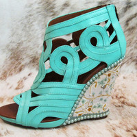 Upcycled Leather Mint Seafoam Wedding Wedges with Swarovski Crystals