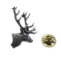Side Facing Stag Deer Head Lapel Pin [Jewelry]