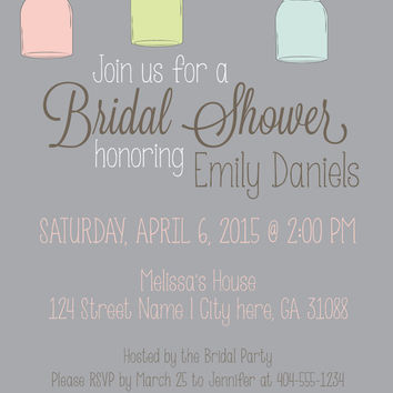 Bridal Shower Invitation | Country Chic | Mason Jars | Rustic | DIY Printable