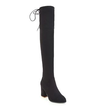 Pointed Toe Zip Velvet Over the Knee Boots 1371