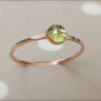 Rose Cut Ring, Rose Cut Peridot Ring, Peridot Ring, Gold Peridot Ring, Stacking Ring, Skinny Gold Band,Choose your stone, Birthstone Jewelry