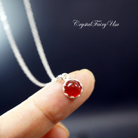 Tiny Red Carnelian Necklace Sterling Silver Red Carnelian Necklace - Single Bead Pendant - Simple Necklace - Crystal Healing