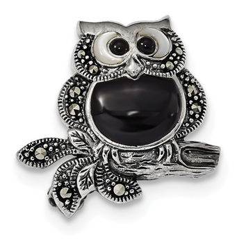 Sterling Silver Antiqued Marcasite, Mother Of Pearl, Black Agate Owl Pin